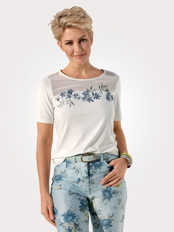 MONA Shirt mit aparter Stickerei, Ecru/Eisblau/Gelb