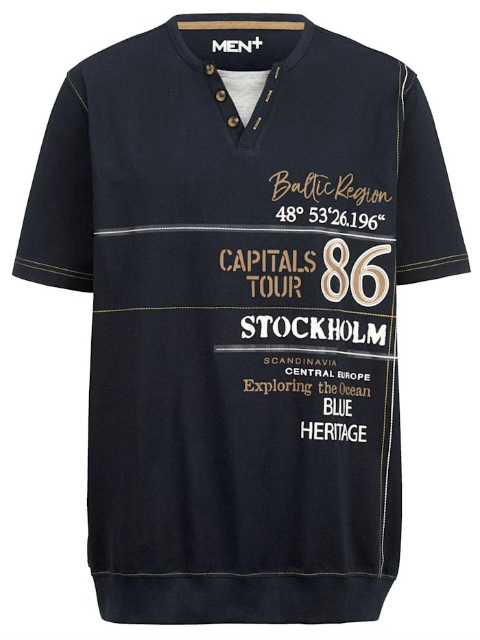 Men Plus T-Shirt Spezialschnitt, Marineblau/Beige