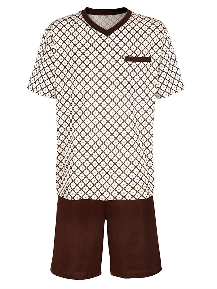 BABISTA Pyjashort en coton mercerisé, Marron/Beige
