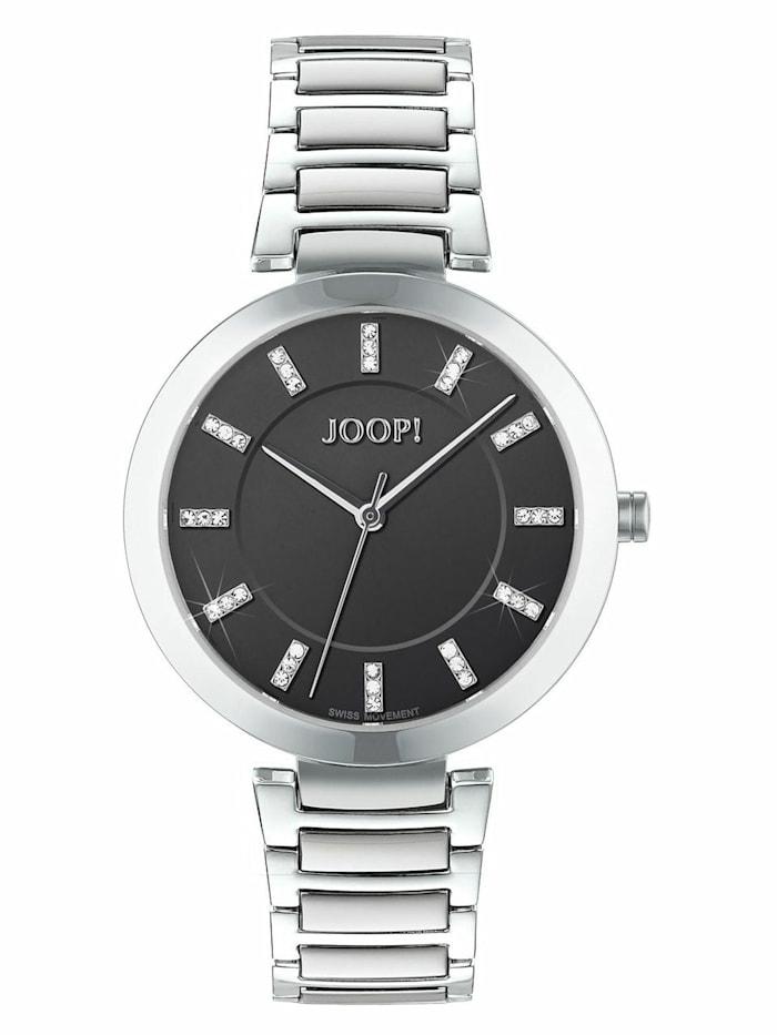 JOOP! Quarzuhr für Damen Edelstahl, schwarz, Silber