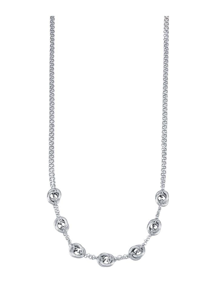 AMY VERMONT Collier mit geflochtenen Elementen, Silberfarben