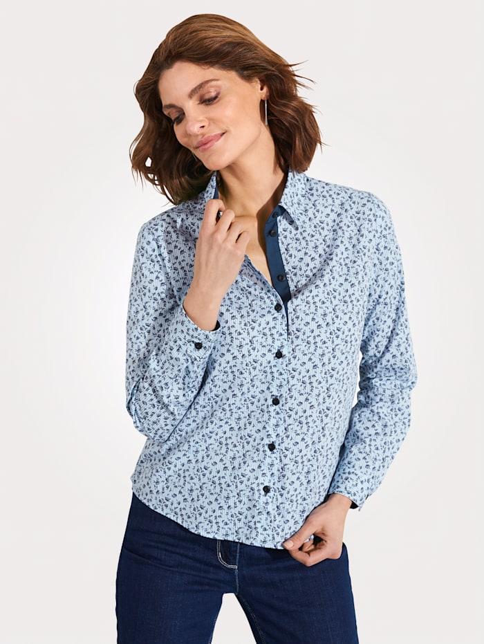 MONA Bluse aus reiner Baumwolle, Weiß/Hellblau/Marineblau