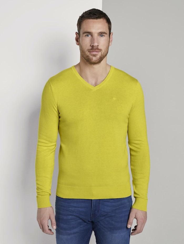 Tom Tailor Basic Strickpullover mit V-Ausschnitt, bright yellow melange