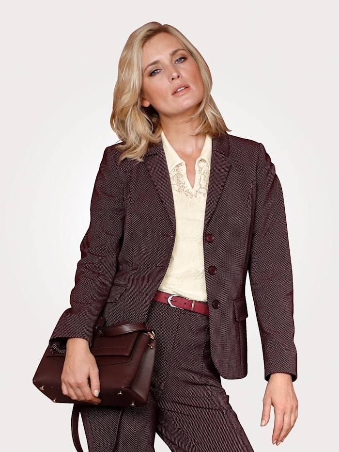 MONA Jersey blazer in a minimal jacquard, Ecru/Blackberry