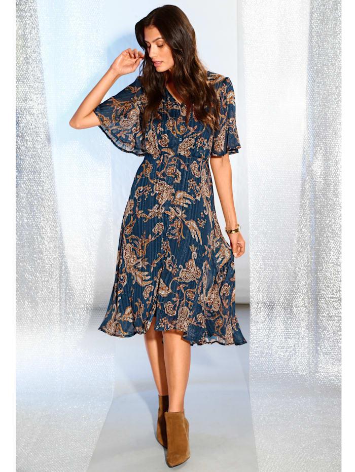 AMY VERMONT Kleid mit Paisley-Muster, Blau/Braun/Orange