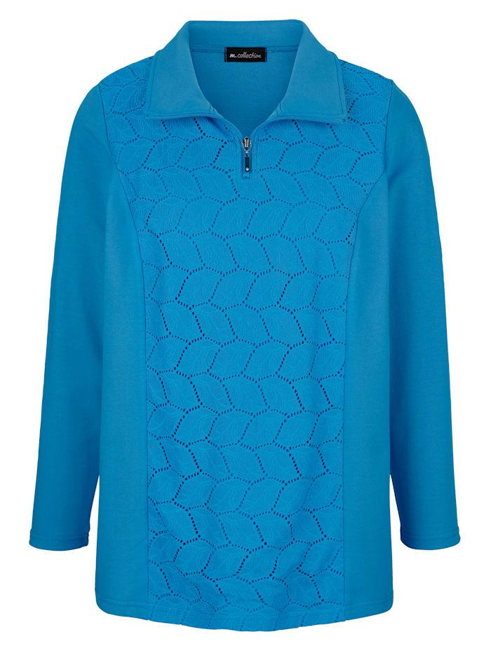 m. collection Sweatshirt med spetsinfällning på framstycket, Blå