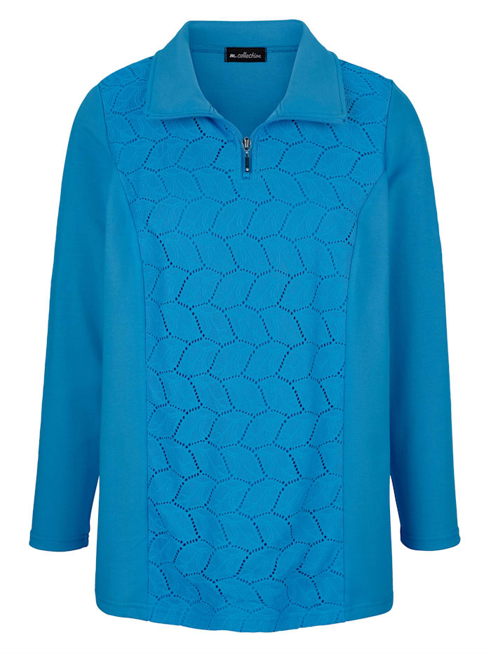 m. collection Sweatshirt vorne mit Spitzeneinsatz, Blau