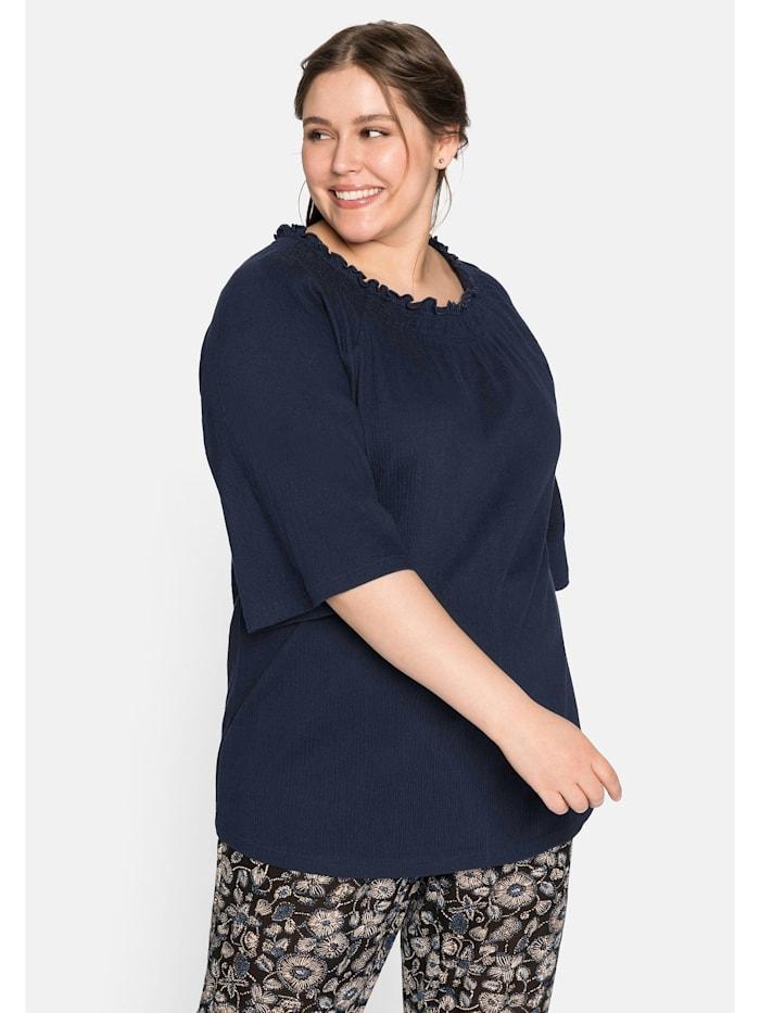 Sheego Sheego Shirt mit Smokeffekt, nachtblau