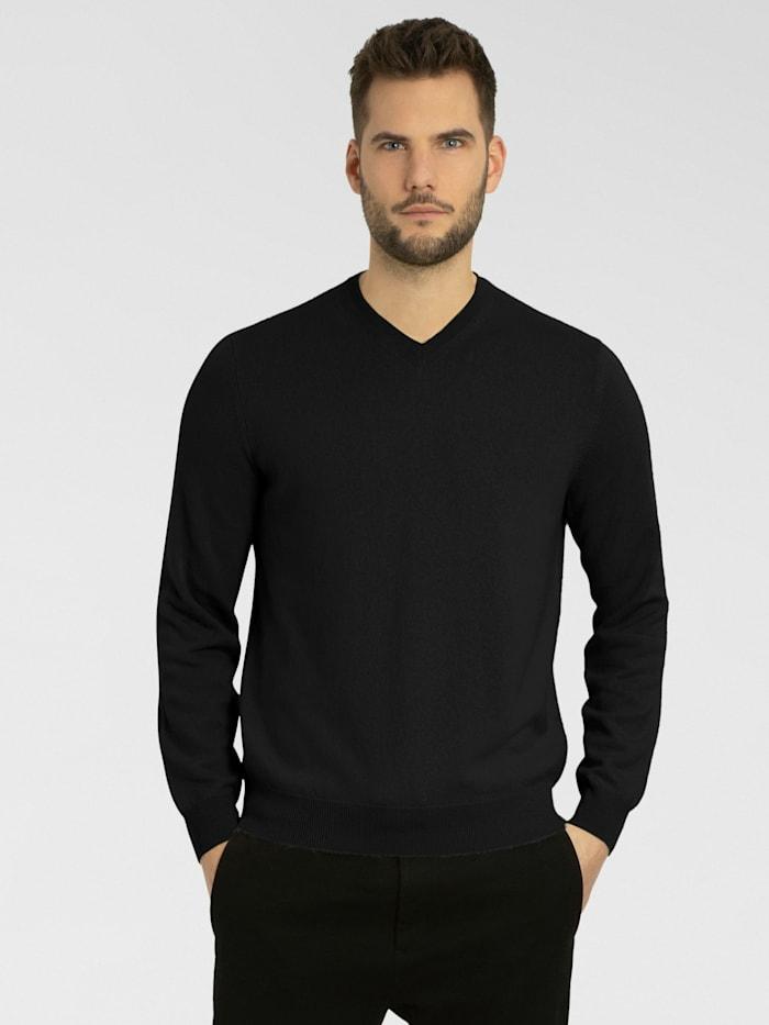 Cashmere Stories Herrenpullover V-Ausschnitt aus hochwertigem Cashmere, schwarz