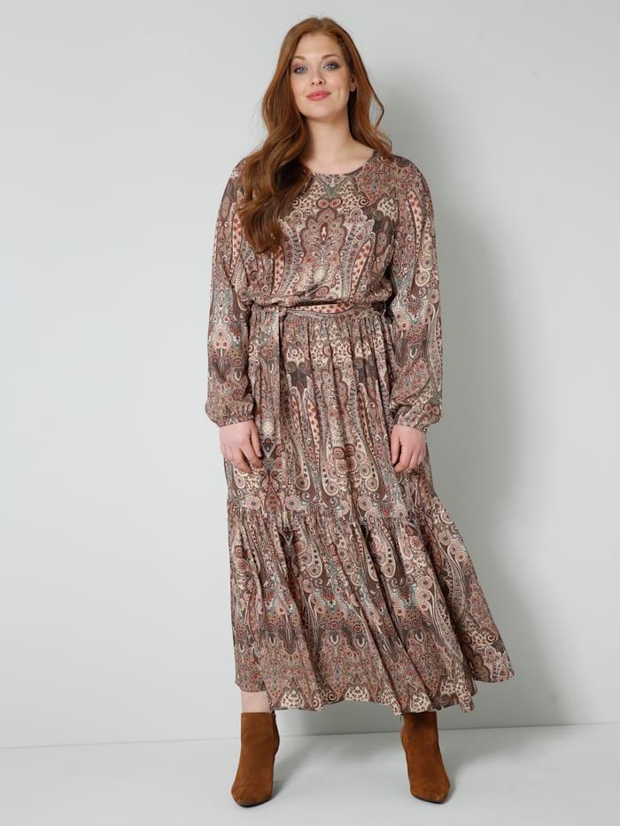 Sara Lindholm Web-Kleid im Ethno-Style, Braun/Smaragd