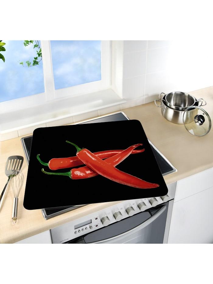 Motivplatte Hot Peperoni, Abdeckplatte für Glaskeramik Kochfelder, Schneidbrett