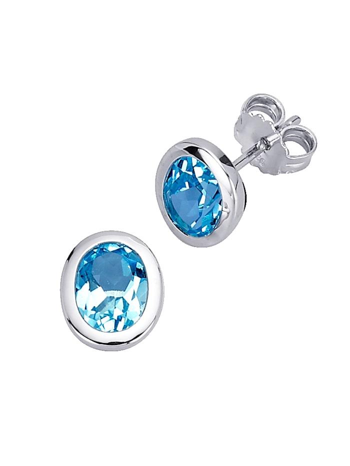 Gemondo Boucles d'oreilles serties de topazes bleues, Bleu