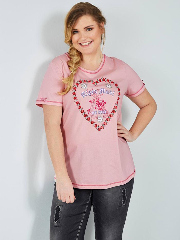 Sara Lindholm Shirt mit Herzdruck, Rosé
