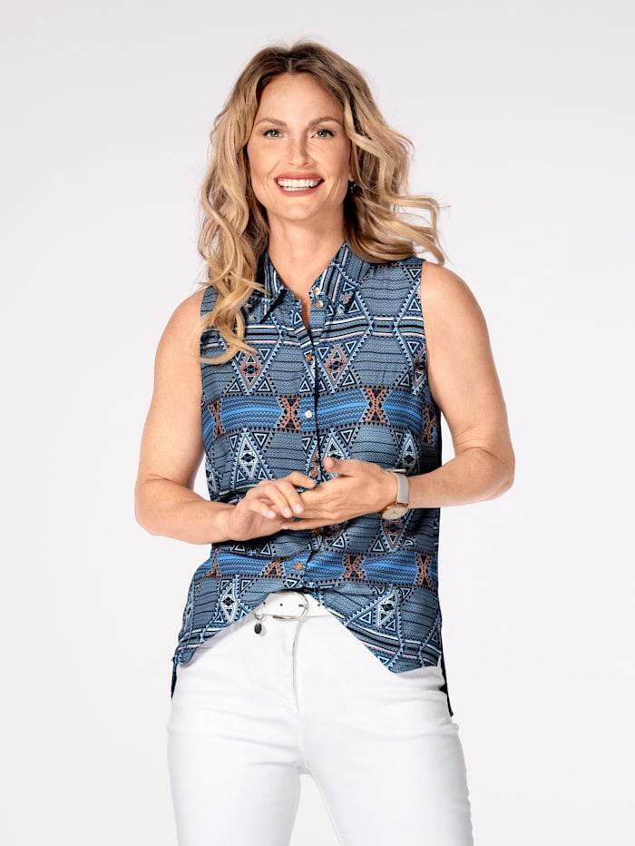 MONA Bluse ohne Arm, Blau/Weiß/Altrosa