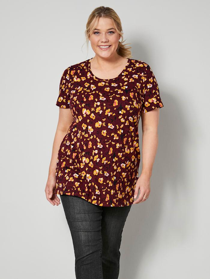 Janet & Joyce Shirt van zuiver katoen, Granaatrood/Geel/Zwart