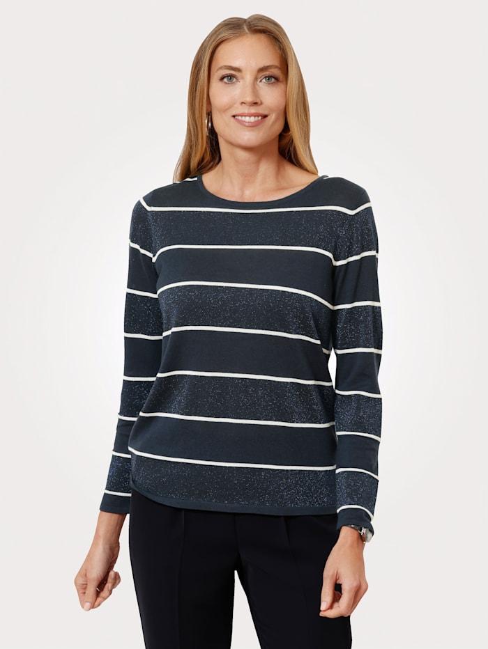 MONA Pullover aus Feinstrick, Marineblau/Weiß