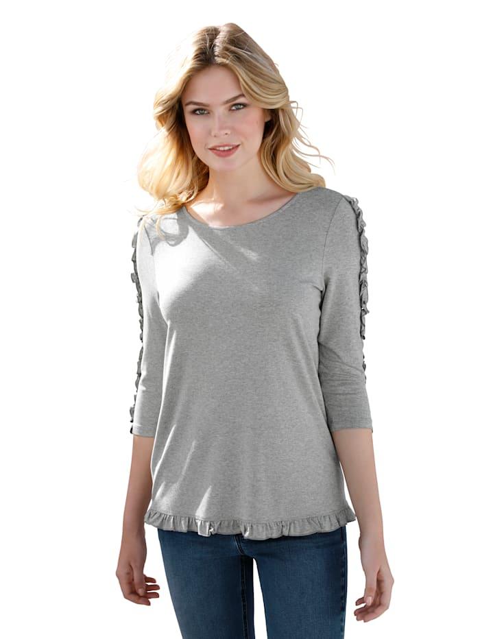 AMY VERMONT Shirt mit Rüschen, Grau