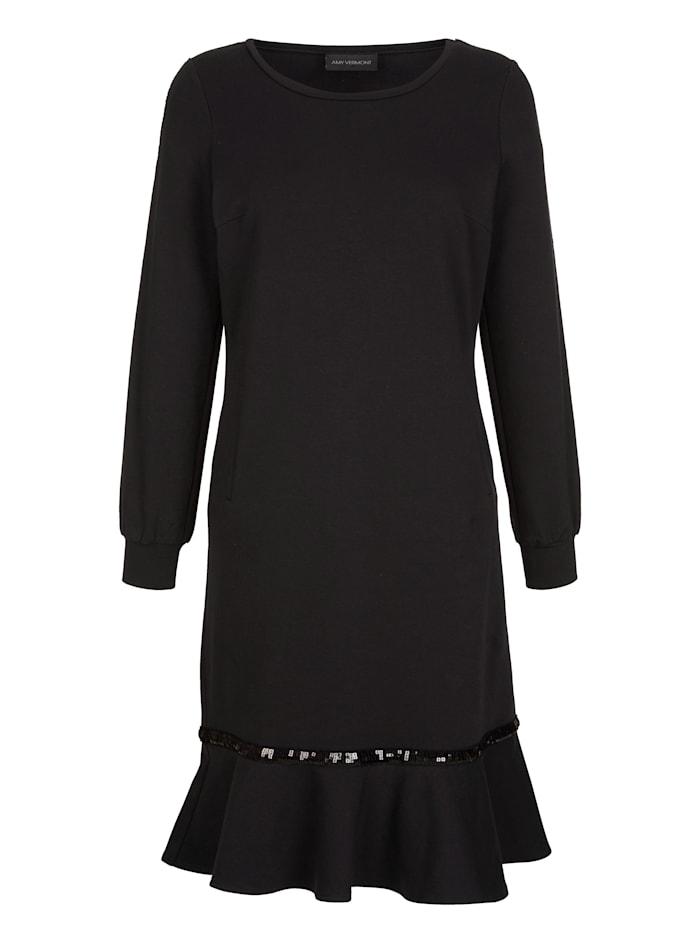 Sweatkleid mit Volant und Paillettenzier