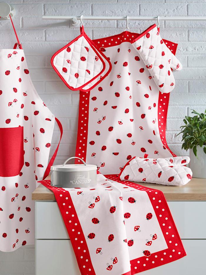 Kracht Set van 2 theedoeken Lieveheersbeestjes, rood