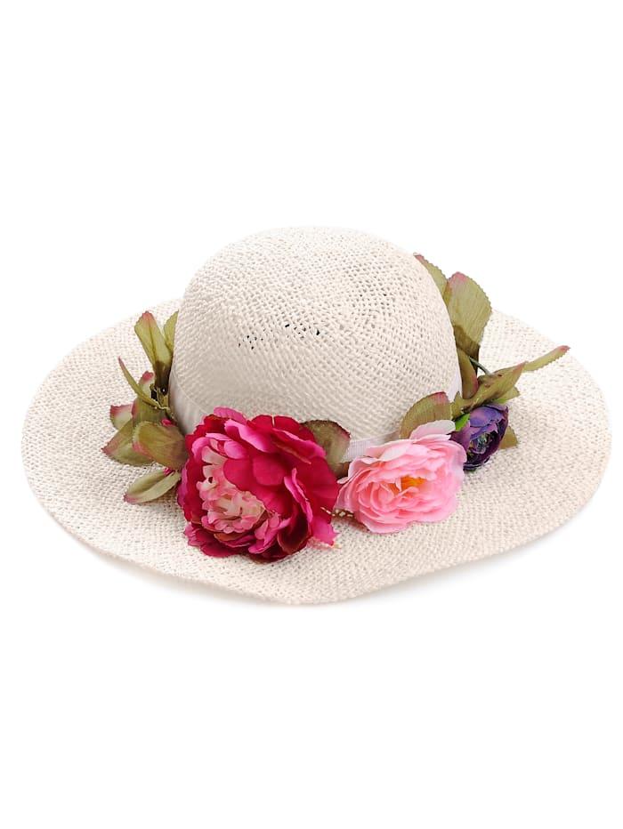 Alba Moda Hut mit Blumenkranz, weiß/multi