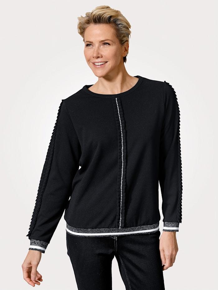 MONA Sweatshirt met modieuze ruches, Zwart