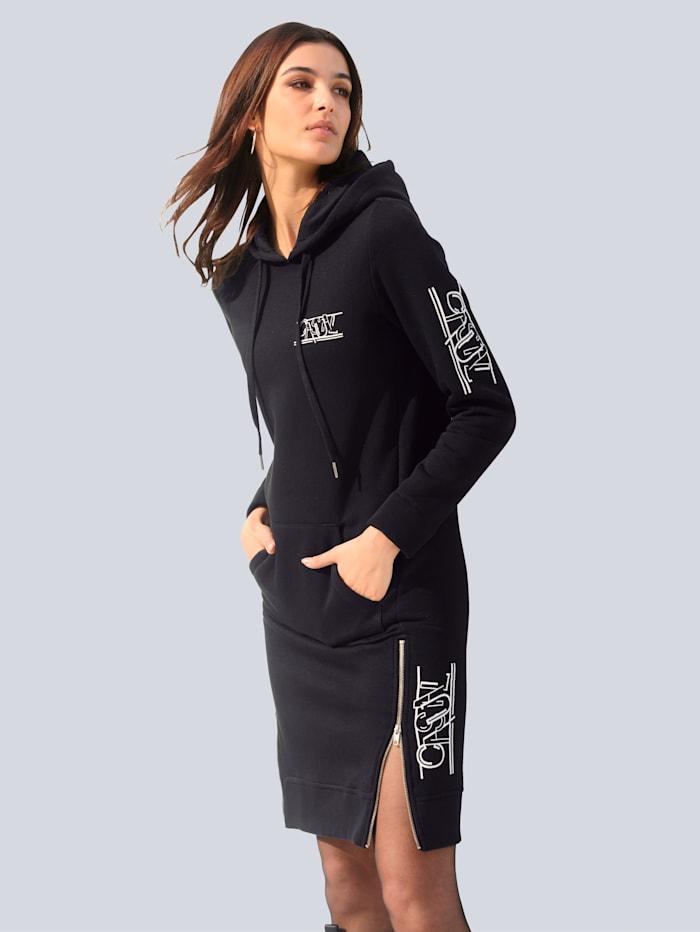 Alba Moda Sweatkleid mit gedrucktem Schriftzug, Schwarz/Off-white