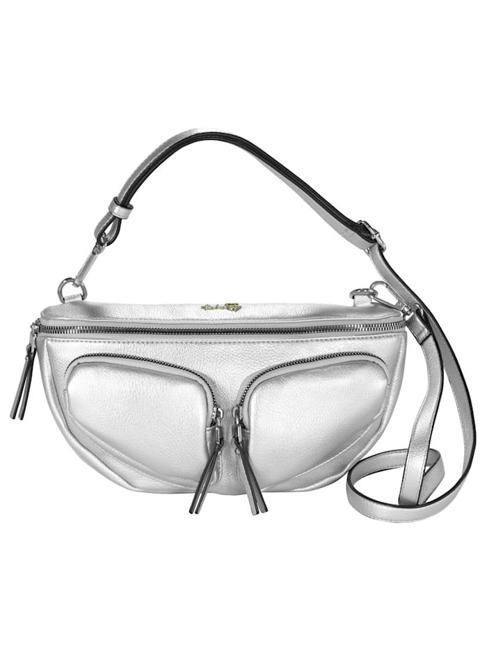 Taschenherz Midjeväska som kan bäras på två sätt, Silverfärgad