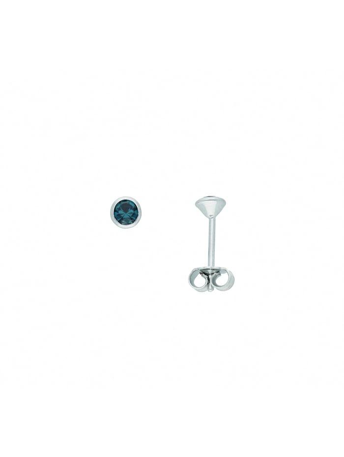 1001 Diamonds Damen Silberschmuck 925 Silber Ohrringe / Ohrstecker mit Zirkonia Ø 3 mm, blau