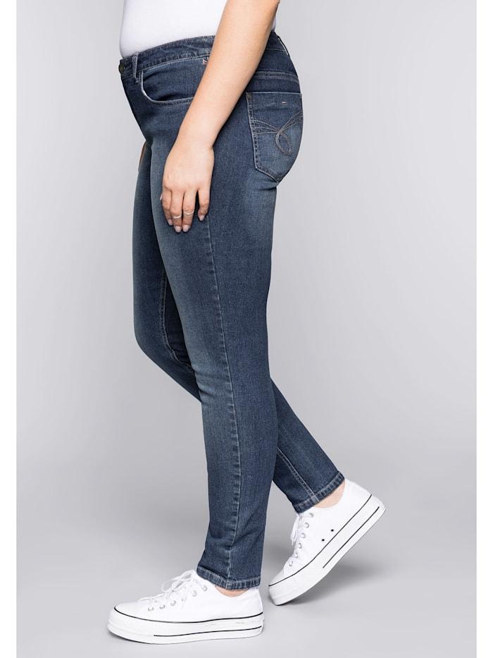 Sheego Jeans in schmaler Form, dark blue Denim