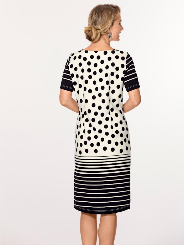 MONA Kleid in aktueller Kontrastverarbeitung, Ecru/Schwarz
