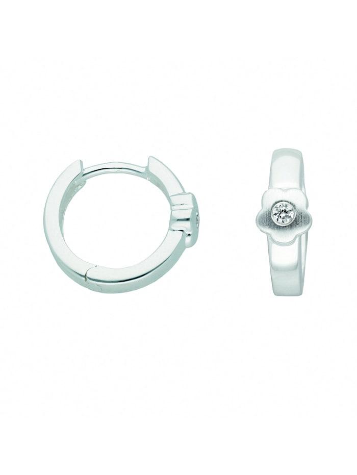 1001 Diamonds Damen Silberschmuck 925 Silber Ohrringe / Creolen Blüte mit Zirkonia Ø 13,3 mm, silber