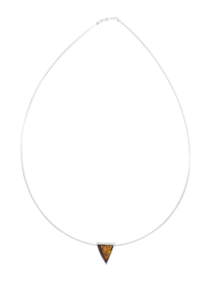 Halsreif mit Anhänger - Gleiter-Classic 17x14 mm - Silber 925/000 - Bernstein