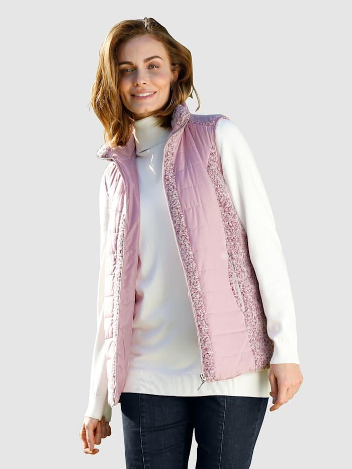 Paola Weste aus Boucléqualität mit Steppdetails, Lavendel/Brombeere
