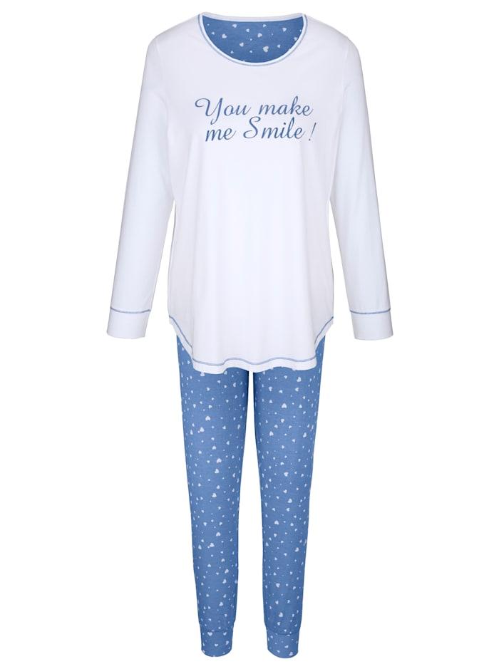 Simone Pyjama met hartvormige patches, azuur/wit
