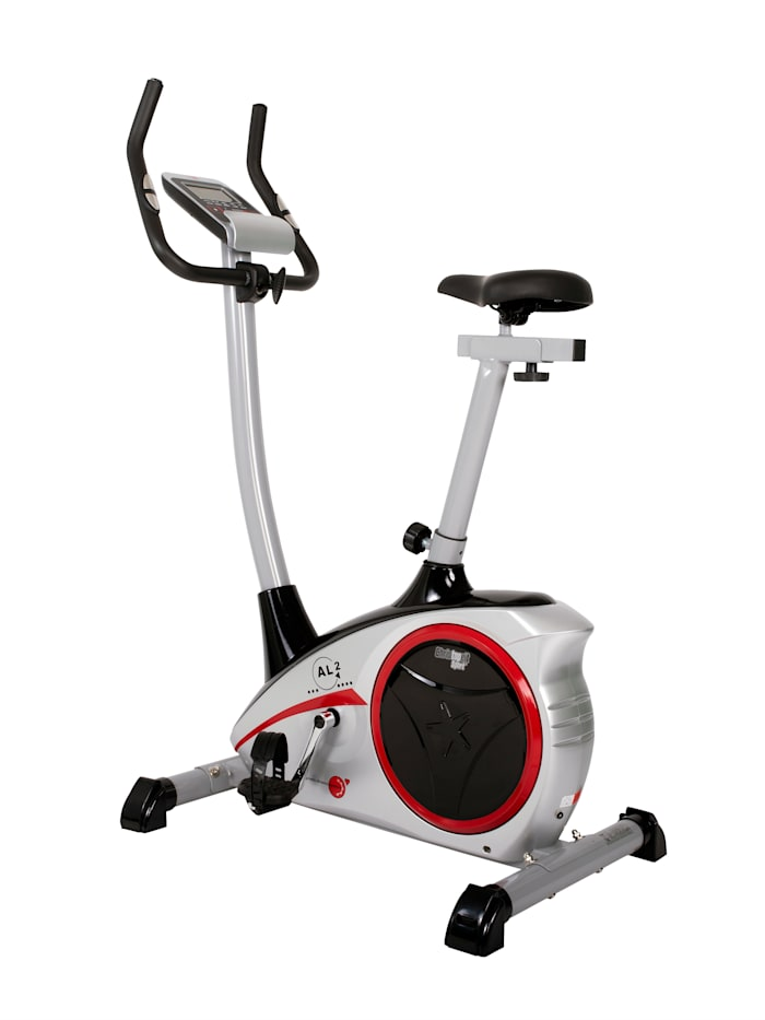 Christopeit Vélo d'appartement ergomètre AL 2/fonctionnement par bandes à roulement/4 niveaux de résistance/capteurs de fréquence cardiaque intégrés dans le guidon, Coloris argent/Noir