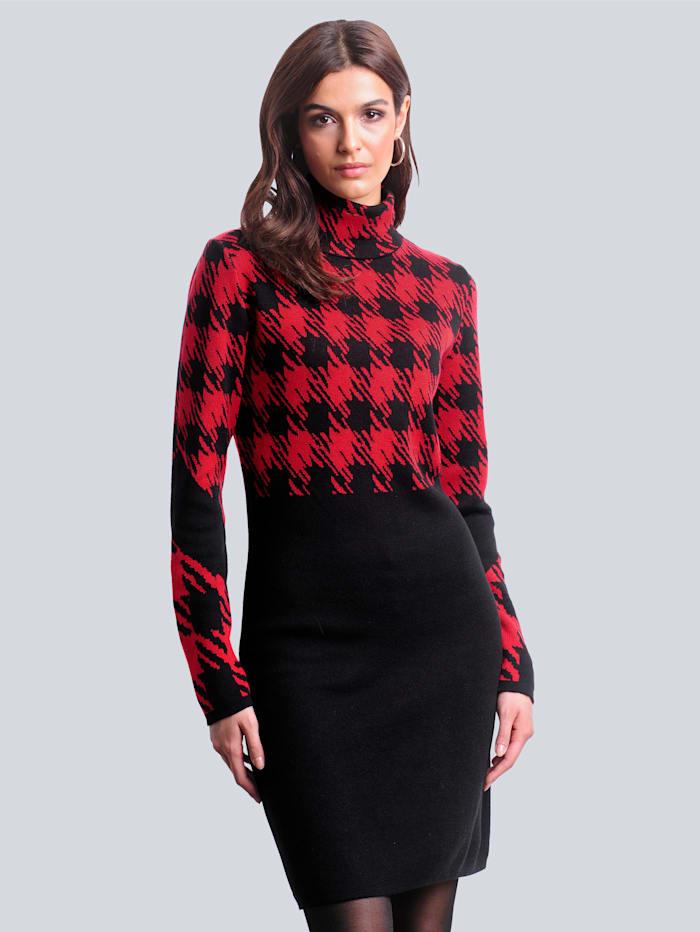 Alba Moda Strickkleid mit exklusivem Dessin von Alba Moda, Rot/Schwarz