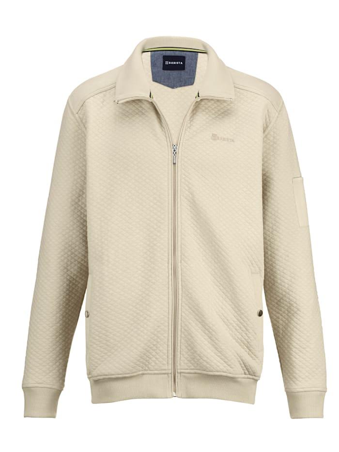 BABISTA Sweatshirtjacka med rombkviltat mönster, Benvit