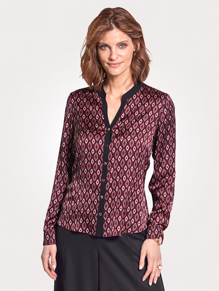MONA Blouse with a graphic print, Red/Black/Rosé/Grey