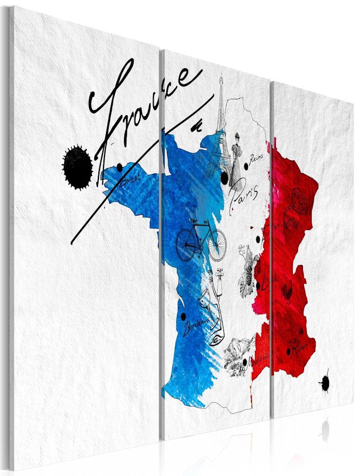 artgeist Wandbild Willkommen in Frankreich! - Triptychon, Blau,Rot,Weiß,Schwarz
