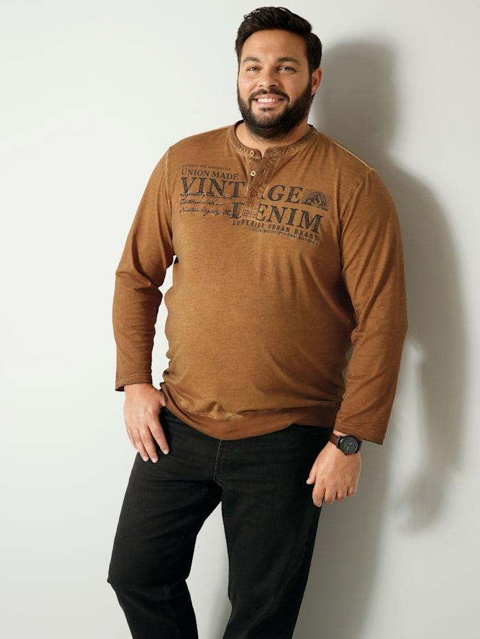 Men Plus Henley-Langarmshirt Spezialschnitt, Camel