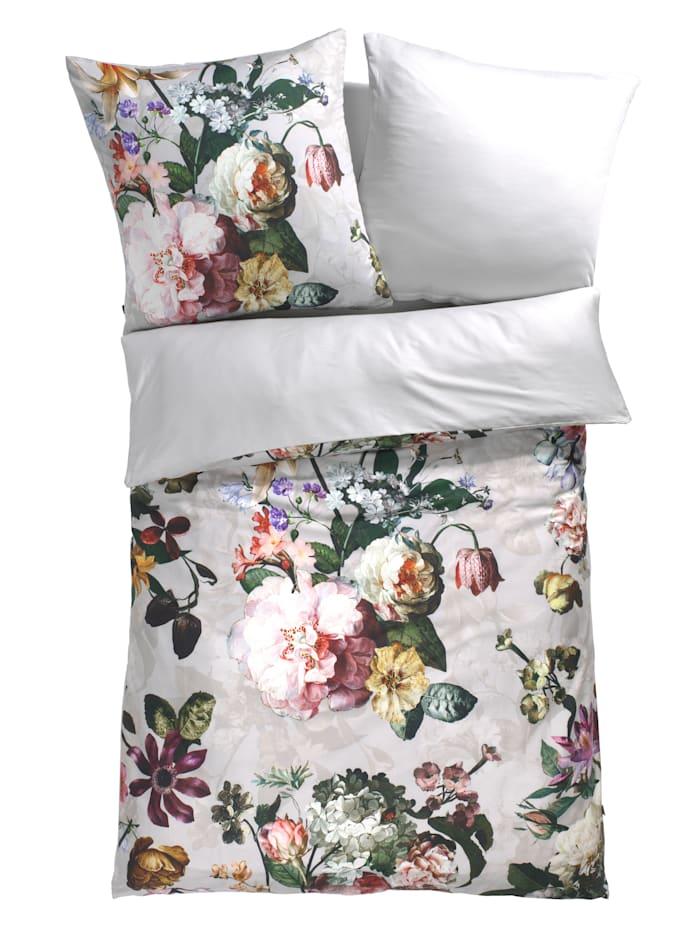 Essenza Parure de lit en satin 2 pièces Fleur, Gris