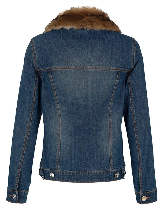 Jeansjacke mit abnehmbaren Webpelzkragen