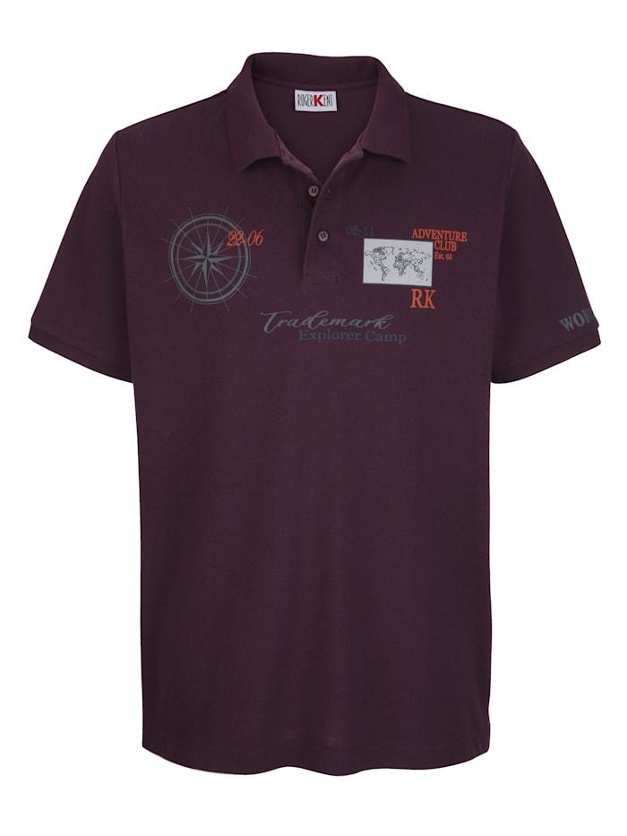 Roger Kent Poloshirt met print voor, Paars