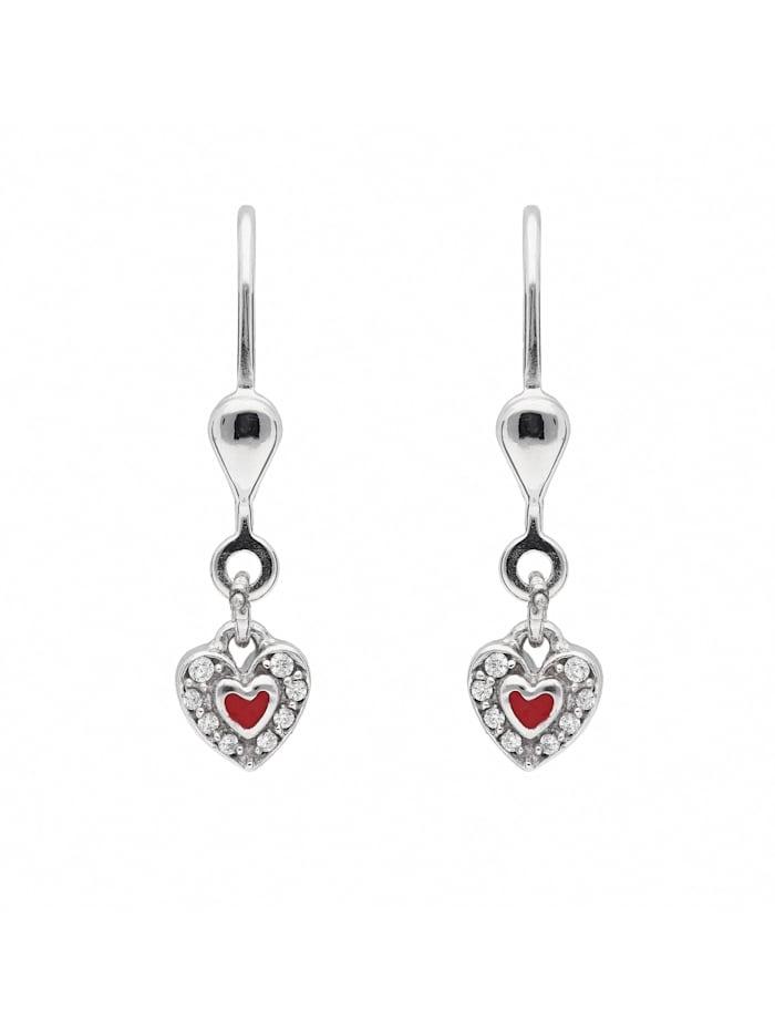 1001 Diamonds Damen Silberschmuck 925 Silber Ohrringe / Ohrhänger Herz mit Zirkonia, silber