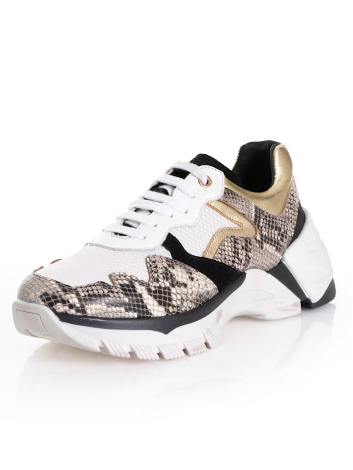 Alba Moda Sneaker met trendy dessinmix, Wit/Grijs