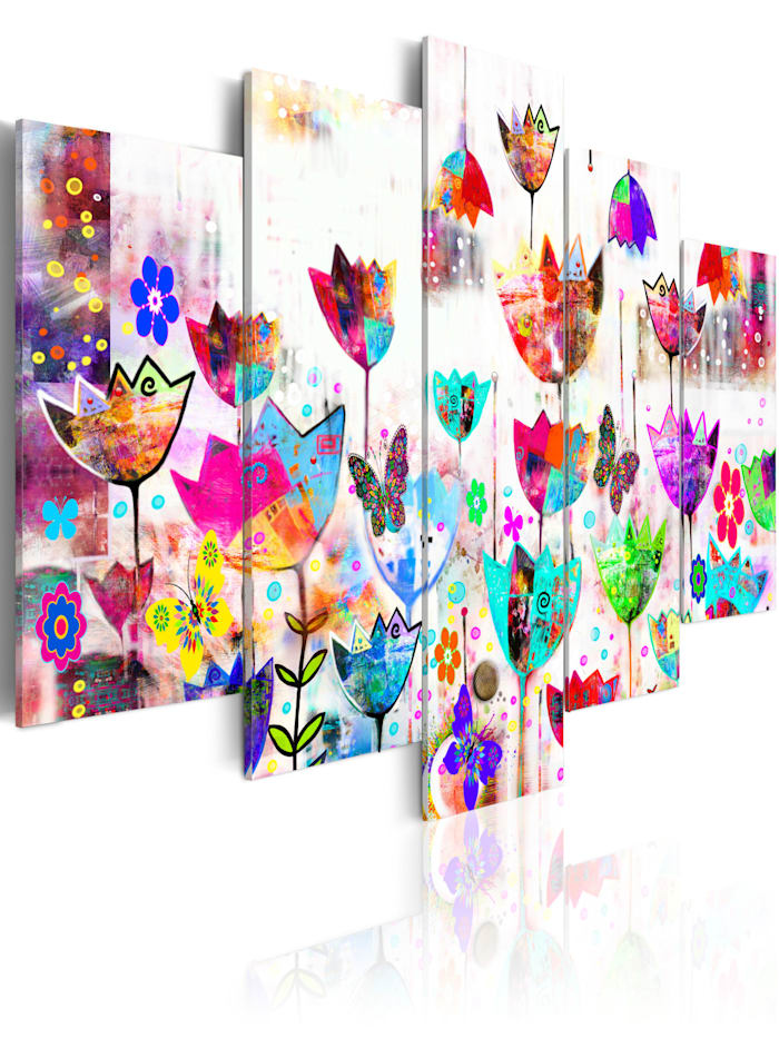 artgeist Wandbild Tulpen im Regen, mehrfarbig