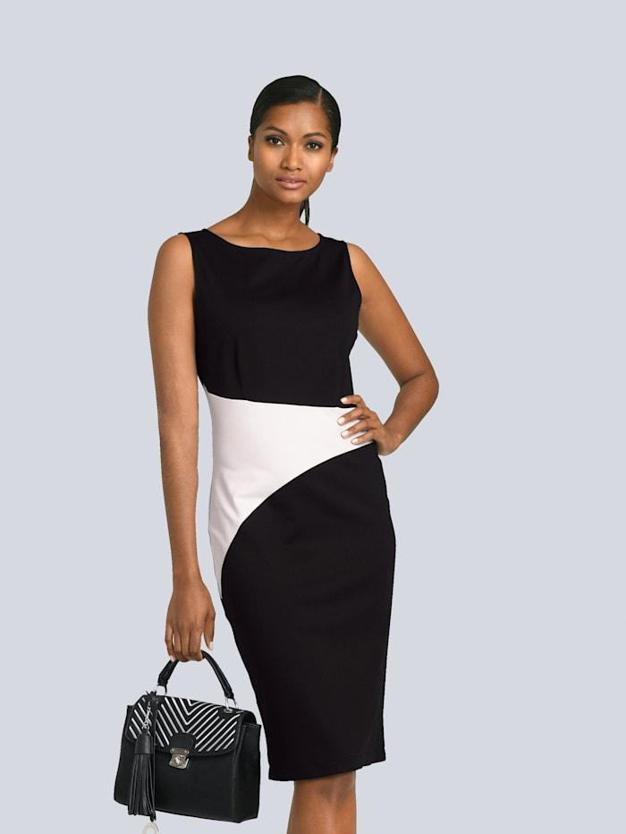 Alba Moda Kleid mit Einsatz in der Taille in Kontrastfarbe, Schwarz/Weiß