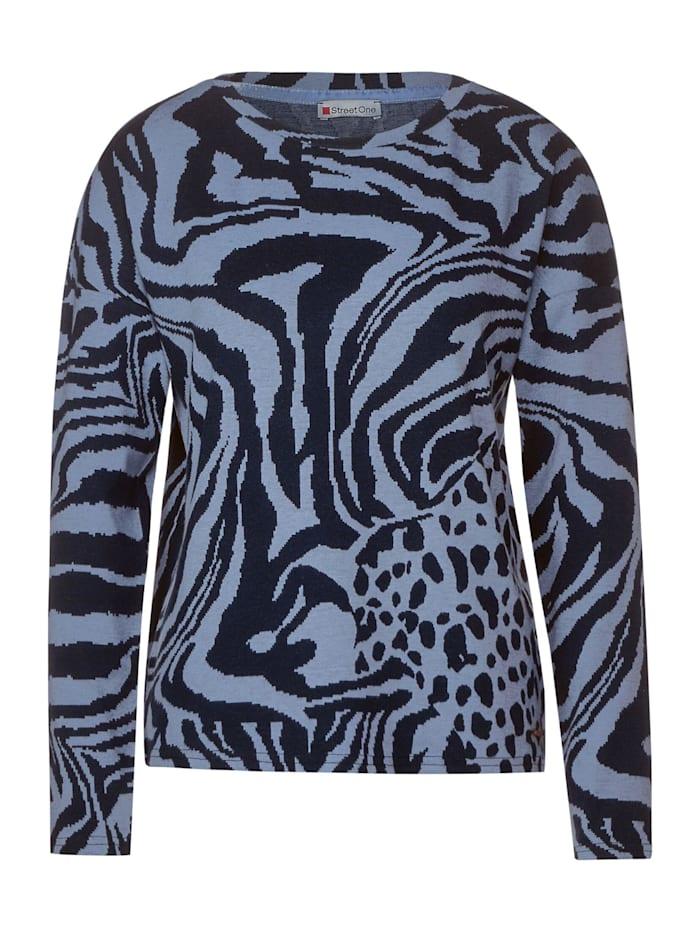 Street One U-Boot Shirt mit Zebra, fluffy blue melange