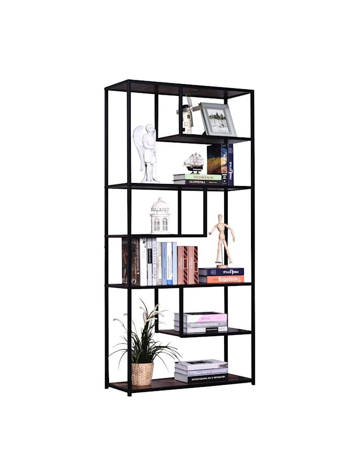 HOMCOM Bücherregal, braun, schwarz
