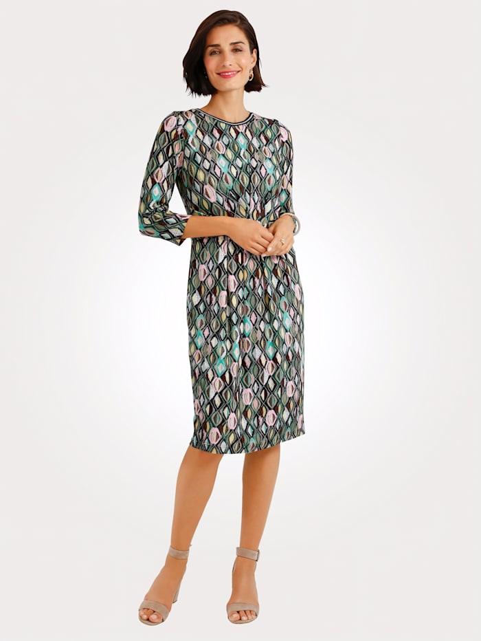 MONA Jerseykleid mit grafischem Druck, Oliv/Mintgrün/Rosé